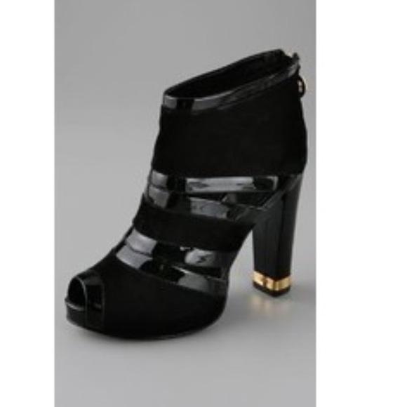 4b97e3816 Tory Burch Lucille Black Suede Peep-toe Booties. M 58c5bf3c36d594d29904d64b