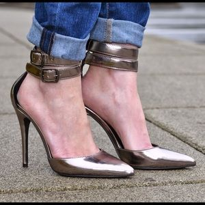 Platinum ankle wrap heels
