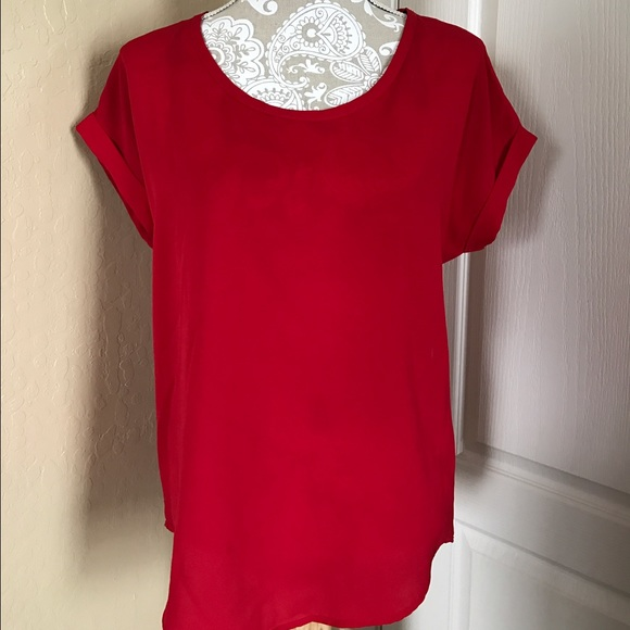 336238877db Pleione Red Short Sleeve Blouse