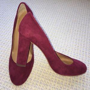 J crew burgundy heels  size 7