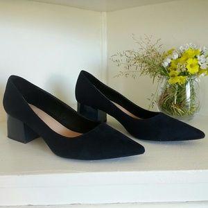Beautiful blue suede pointy toe block heels Zara