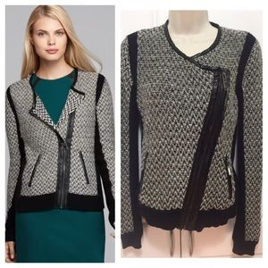 Vince Camuto Moto Sweater Jacket With Faux Leather