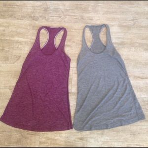 Red and grey racer back tanks
