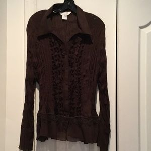allison taylor  Tops - Ladies brown crinkle stretch blouse 3x NWT