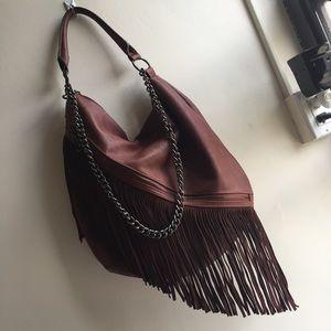 Handbags - Fringed Hobo Bag