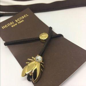 henri bendel Other - 🍊Henri BENDEL Hair Tie Pony Tail Elastic Gold Fly