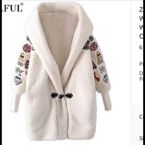 Jackets & Blazers - Off white Embroidered faux Lamb Wool hooded Coat
