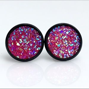 thejeweladdict Jewelry - 3 for 15🎀flat Sparkly Hot Pink faux druzy studs