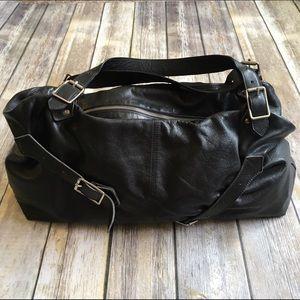 Foley + Corinna Handbags - Foley + Corinna black buckle leather satchel
