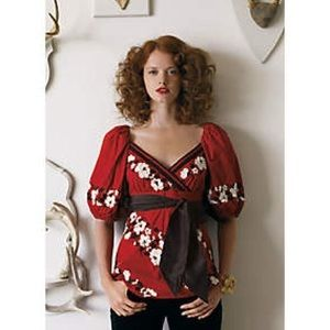 Anthropologie Tops - 2007 Anthropologie Lithe Snowshoe Embroidered Top