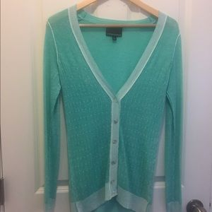Mint colored cardigan by Cynthia Rowley