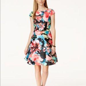 Tahari Dresses & Skirts - Tahari by ASL Fit & Flare Floral Cap Sleeve Dress