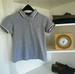 Fred Perry Tops - Fred perry piped grey polo sporty 90s ringer crop