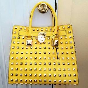 Like New Michael Kors Studded Yellow Hamilton Bag!