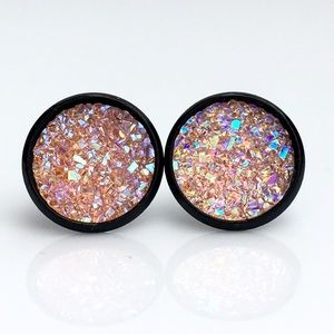thejeweladdict Jewelry - 3 for 15🎀flat sparkly light pink faux druzy studs