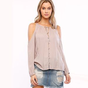 Tops - Off The Shoulder Taupe Casual Chic Top
