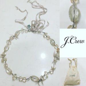 J. Crew Jewelry - NWT J CREW CLEAR BEAD & RIBBON NECKLACE. W/POUCH
