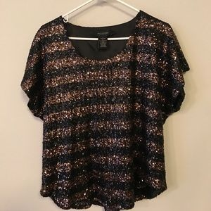 MM Couture Tops - MM Couture Black & Bronze Sequin Crop