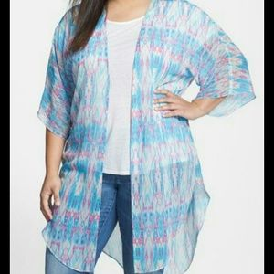 City Chic Tops - New City Chic Blue and Pink Kimono 16w