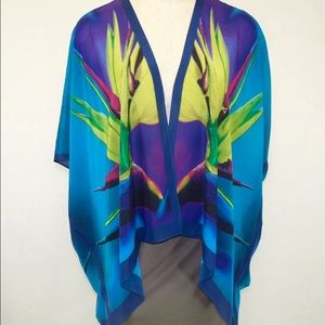 100% Silk Teal Kimono Bird of Paridise
