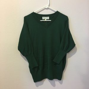 Sweaters - Green knitted V neck sweater