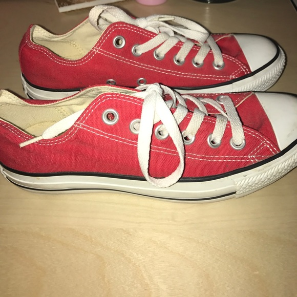 9a57f9d2f210 Converse Shoes - Bright red converse low tops- size 7!