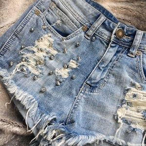 Kendall & Kylie Pants - Kendall and Kylie High Waisted Studded Shorts
