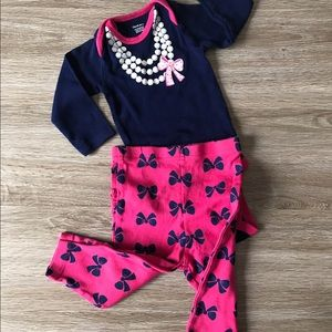 Gerber Other - Pearls and Bows adorable 2 piece set. EUC