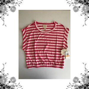 Belle Du Jour Tops - Striped Jersey Crop Top
