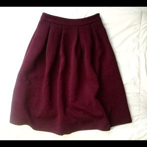 Burgundy (Maroon) Pleated Midi Skirt
