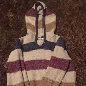 Striped fuzzy hooded sweater