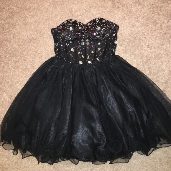 Blondie Nites Dresses Short Black Strapless Jeweled Dress W Sheer
