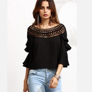 Haute Ellie Tops - 🆕 Crochet Neck Double Ruffle Sleeve Top