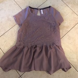 Xhilaration Purple Lilac Lace Peplum Top