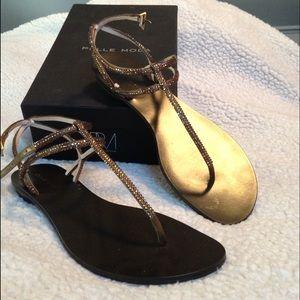 NWT! Pelle Moda Bronze crystal and silk sandals.