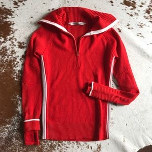 Athleta Sweaters - Athleta red pullover half zip sweater S