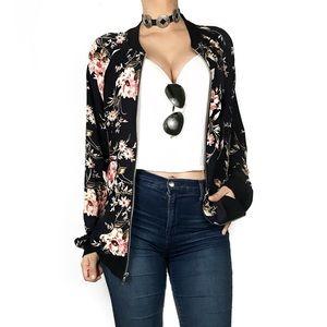 Anthropologie West Kei floral bomber jacket