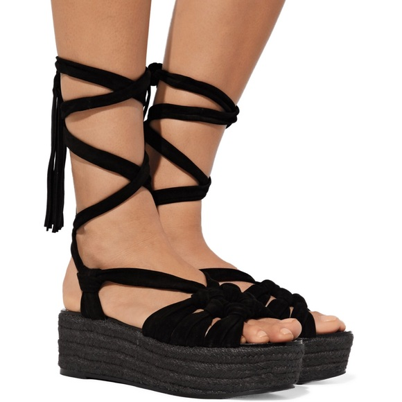 106515a4ba9 Sigerson Morrison Cosie espadrille wedge lace up NWT