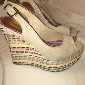 Two Lips Shoes - Two Lips platform peeptoe with colorful weave