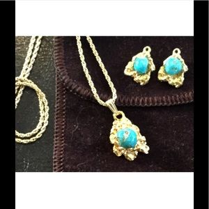 Jewelry - 18K Gold-Plated Necklace and Earrings w/Turquoise