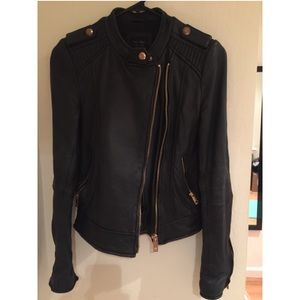 Zara Rose Gold Real Leather Jacket XS