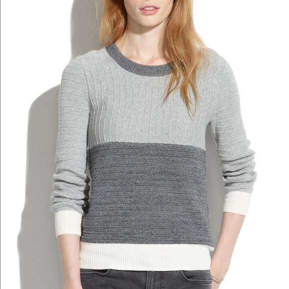 2298a2c7be56 Madewell Sweaters - MADEWELL Gray ColorBlock Linear Stitch Sweater SzM