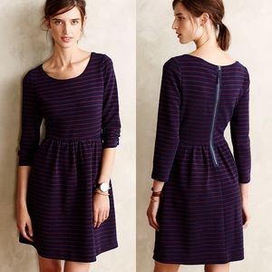 Maeve Anthropologie Navy Striped Brenna Dress