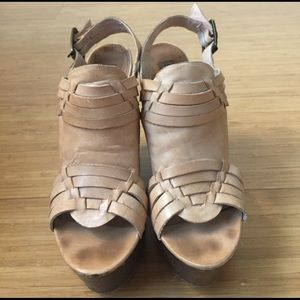 Tan Steve Madden high wedge