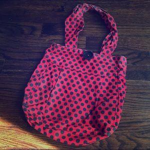 Hand Made Handbags - Hand Made Red & Black Polka Dot Purse w/ Button