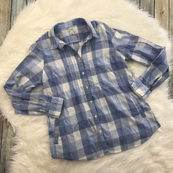 L.L. Bean Tops - LLBean Blue & White Gingham Plaid Shirt