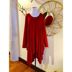 umgee Dresses & Skirts - NWT 2X dark red shark bite hem dress/ tunic