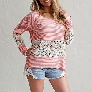 Tops - Stripe & Crochet Blouse