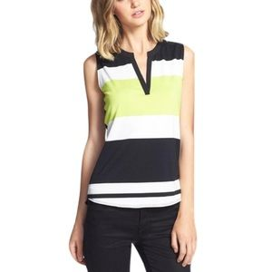 Two by Vince Camuto Tops - Two by Vince Camuto Stripe Split Neck Top NWOT