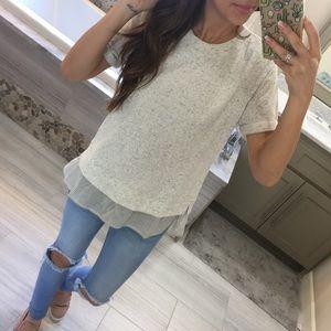 Tops - Mixed Fabric T-shirt Sweater